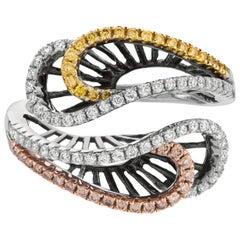 Fancy Brown Diamond, Yellow Diamond, and White Diamond Ribbon Multi-Color Ring