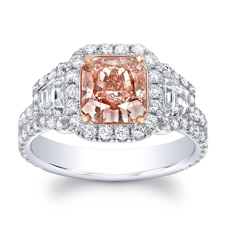 Women's Fancy Brown Pink Diamond Ring Radiant Cut 1.66 Carats GIA Certified For Sale