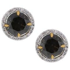 Fancy Brown Round Cut Diamond Stud Earrings