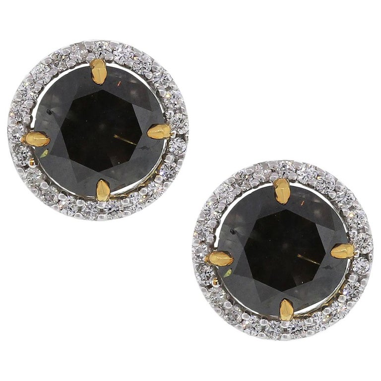 Fancy Brown Round Cut Diamond Stud Earrings For Sale At 1stdibs
