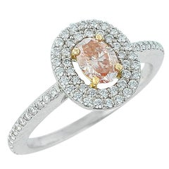 Fancy Brownish Orangy Pink Diamond Halo Ring, Platinum