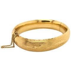 Fancy Brushed Yellow Gold Bangle Bracelet