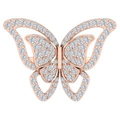 Fancy Butterfly Cocktail Ring with Diamond in 18 Karat Rose Gold
