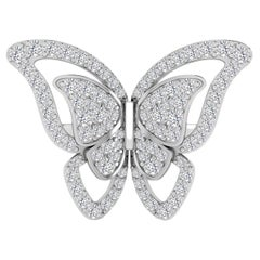 Fancy Butterfly Cocktail Ring with Diamond in 18 Karat White Gold