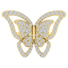 Fancy Butterfly Cocktail Ring with Diamond in 18 Karat Yellow Gold