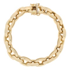 Fancy Cable Chain Bracelet, 18 Karat Yellow Gold, Italy