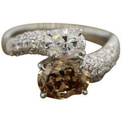 Fancy Cognac Color Diamond Platinum Bypass Ring