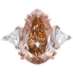 Fancy Color 4.37 Pear Shape Cut Diamond Platinum Ring