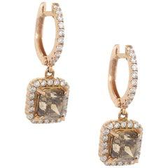 Fancy Color Cushion Cut GIA Certified Diamond Drop Hoop Earrings