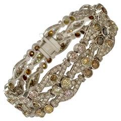 Fancy Color Diamond and White Diamond Bracelet in Platinum