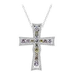 Roman Malakov Fancy Color Diamond Bezel Cross Pendant Necklace