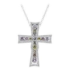 Fancy Color Diamond Bezel Cross Pendant Necklace