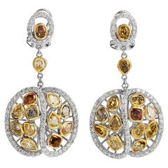 Fancy Color Diamond Dangel Drop Gold Earrings