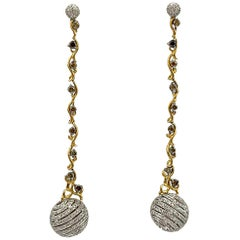 Fancy Color Diamond Earrings 0.73 Carat with White Diamond Ball 2.05cts 18K Gold