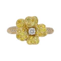Fancy Color Diamond Flower Ring by Oscar Heyman Bros, American, circa 1980
