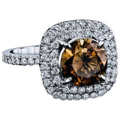 Fancy Color Diamond Ring with GIA Certificate, 1.79 Carat Platinum
