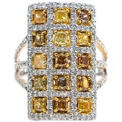 Fancy Color Diamonds 1.85 Carat and White Diamonds 1.01 Carat Ring 18 Karat Gold