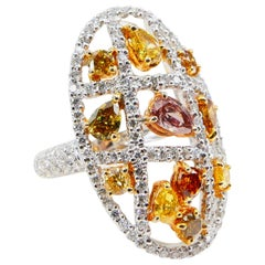 Fancy Color, Fancy Shaped Multicolored Diamond Cocktail Ring, Statement Piece