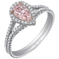 Neil Lane Couture Fancy Color Pear Brilliant-Cut Diamond, Platinum Ring