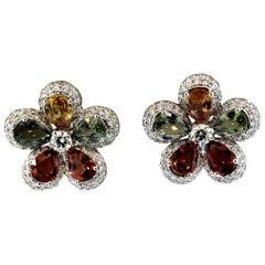 Fancy Color Sapphire Diamond Gold Flower Earrings