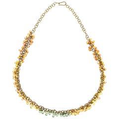 Fancy Color Sapphire Drop Gold Necklace