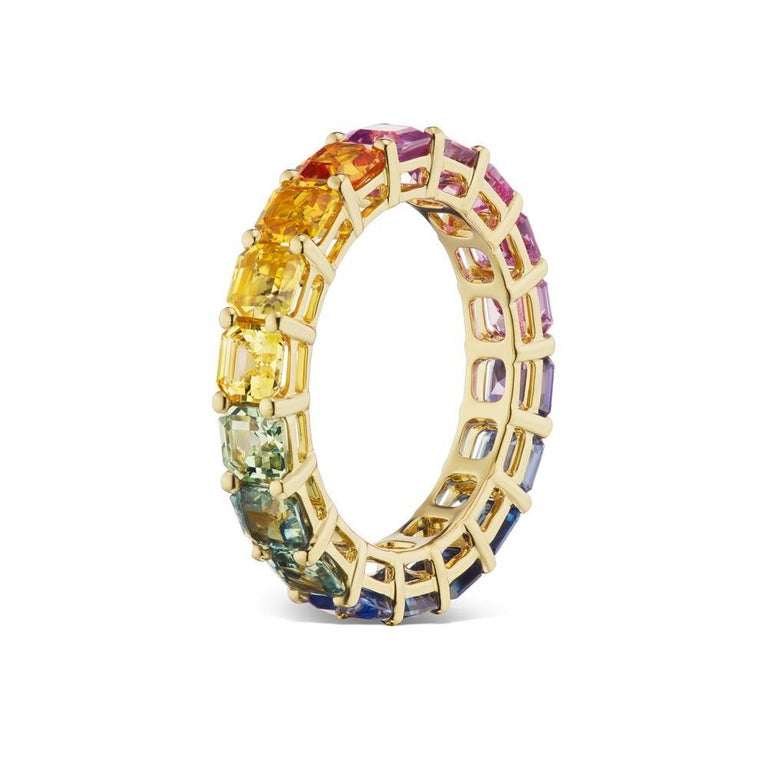 Modern Takat Fancy Color Sapphire Eternity Band In 18K Yellow Gold For Sale