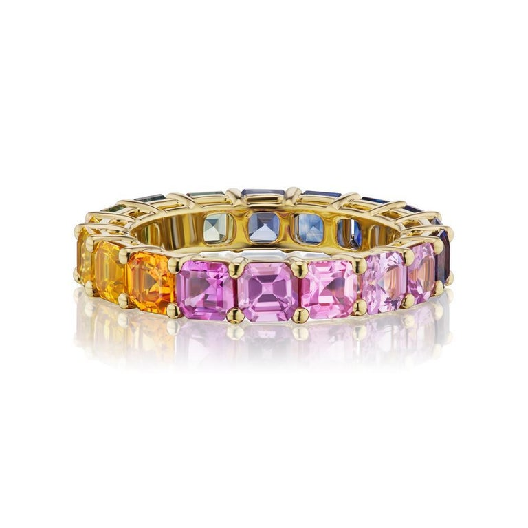Asscher Cut Takat Fancy Color Sapphire Eternity Band In 18K Yellow Gold For Sale