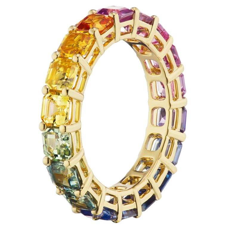 Takat Fancy Color Sapphire Eternity Band In 18K Yellow Gold For Sale