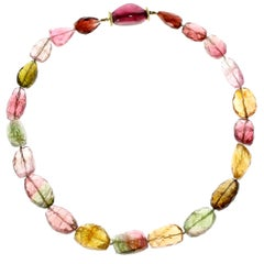 Fancy Color Tourmaline Bead Yellow Gold Necklace