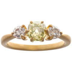 Fancy Colored Diamond 18 Karat Gold Engagement Ring