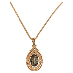 Fancy Colored Diamond and Rose Gold Pendant Necklace on Double Link Chain