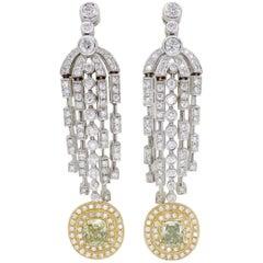 Fancy Colored Diamond Chandelier Earrings in 18 Karat Gold
