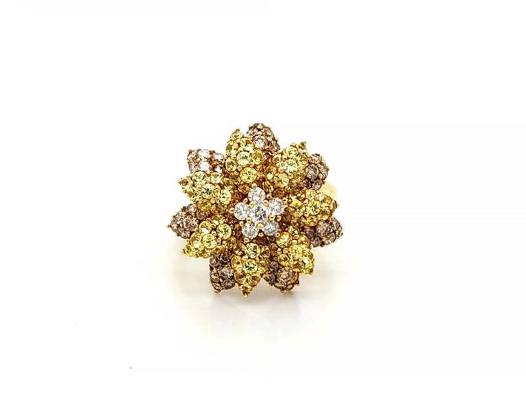 Beautiful multi-colored diamond flower ring suitable for any occasion. Set with yellow and white diamonds. Estimated clarity of the diamonds is VS. The diamonds are not certified. The metal is 14K yellow gold. Size: 6,5. Resizing available.