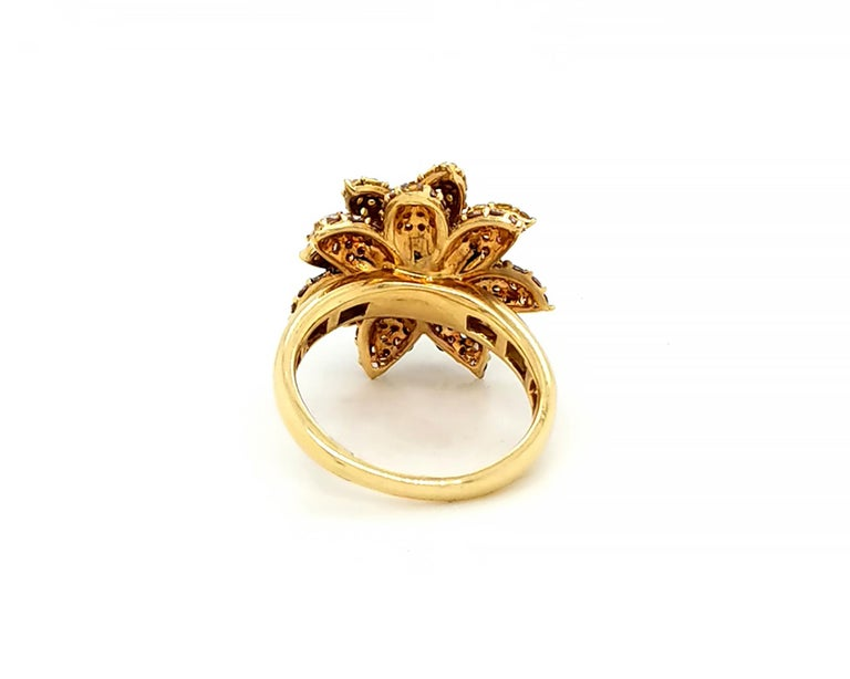 Mixed Cut Fancy Colored Diamond Flower Cocktail Ring For Sale
