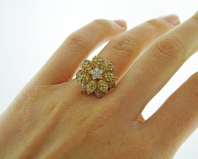 Women's Fancy Colored Diamond Flower Cocktail Ring For Sale