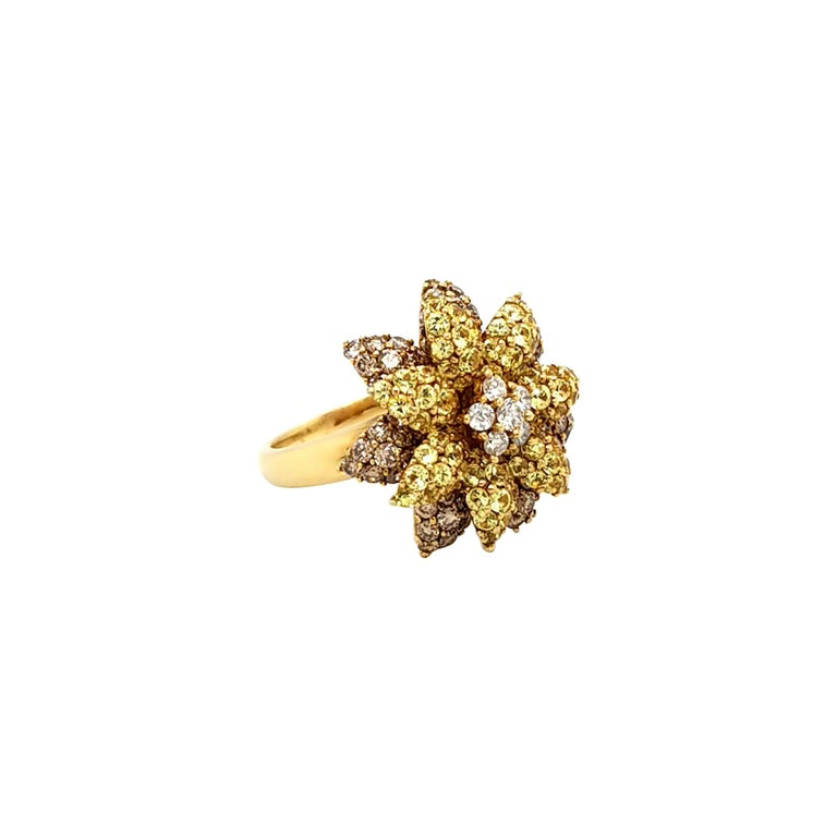 Fancy Colored Diamond Flower Cocktail Ring For Sale