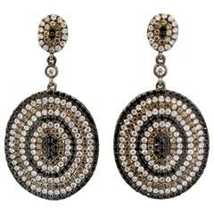 Fancy Colored Diamond Gold Target Drop Earrings