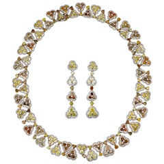 Fancy Colored Diamond Necklace and Earring Set in 18 Karat Gold
