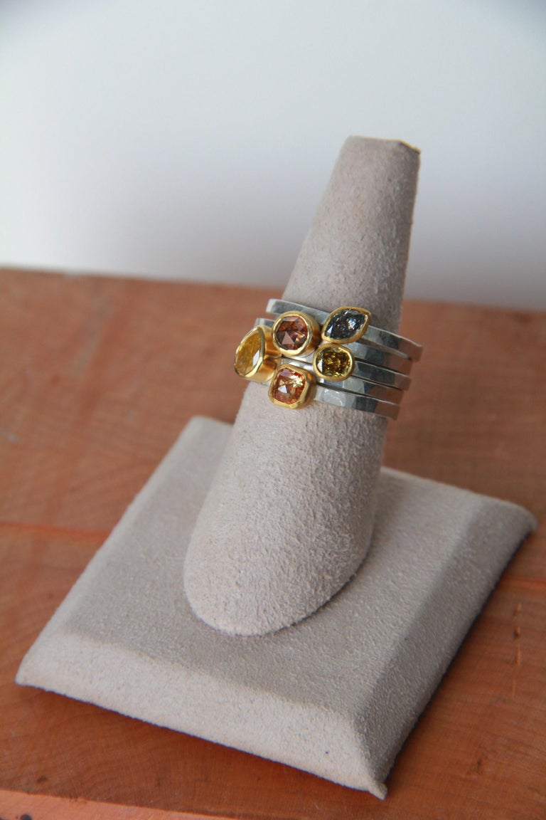 Artisan Fancy Colored Diamond Stack Rings 22 Karat Gold and Argentium Silver For Sale