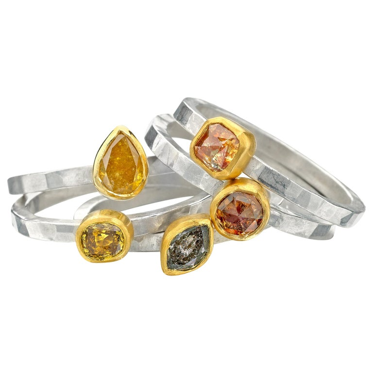 Fancy Colored Diamond Stack Rings 22 Karat Gold and Argentium Silver For Sale