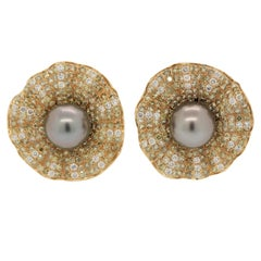 Fancy Colored Diamond Tahitian Pearl Gold Floral Earrings