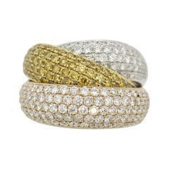 Fancy-Colored Diamond Tri-Tone Gold Crossover Cocktail Ring