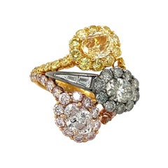 Fancy Colored Oval Pink, Yellow & Gray GIA Certified Diamond Ring