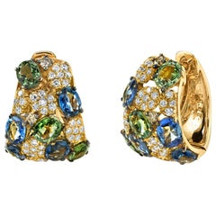 Fancy Green and Blue Sapphire and Diamond Pave 18k Yellow Gold Hoop Earrings