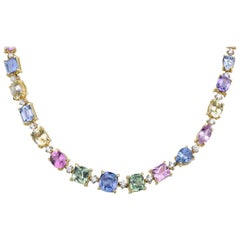 Fancy Colored Sapphire Necklace, 57.39 Carat