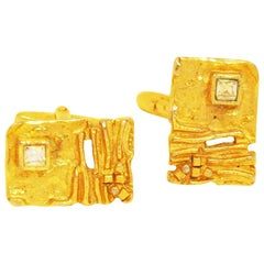 Fancy Cufflinks from the Sixties, gold-coloured, rectangular in nugget look