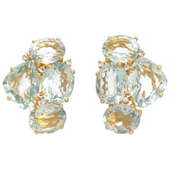 Fancy-cut and Oval Green Amethyst Cluster Vermeil Earrings