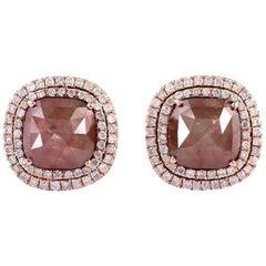 Fancy Diamond 18 Karat Gold Square Stud Earrings