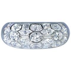 Fancy Cut Diamond and 18 Karat White Gold Band Ring