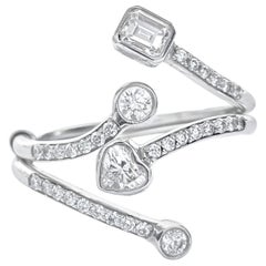 """Contemporary Fancy Cut Diamond White Gold """"Double Finger"""" Ring"""